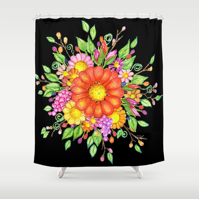 Big Red Daisy Bouquet On Black Shower Curtain By Janepurcell