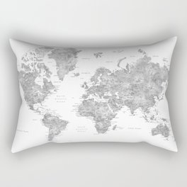 Grayscale watercolor world map with cities Rectangular Pillow