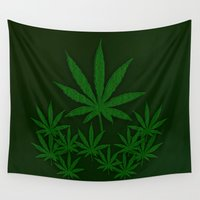 weed Wall Tapestries featuring Weed by Leatherwood Design