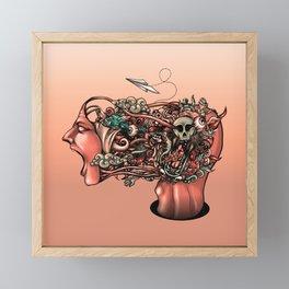 Head Scream Doodle Framed Mini Art Print
