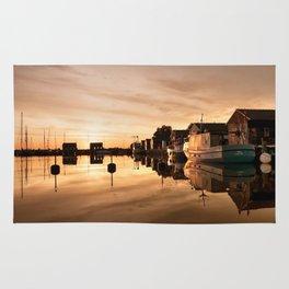 Beautiful Sunrise - harbour Beach Boat Ship Rug