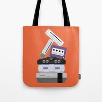 nintendo Tote Bags featuring Nintendo Consoles by Michael Walchalk
