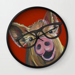 Pig With Glasses, Cute Pig, Farm Animal Wall Clock