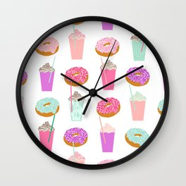 Coffee and Donuts pastel pink mint cute pattern gifts for valentines day love Wall Clock