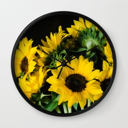 Yellow Sunflowers on Black Wall Clock