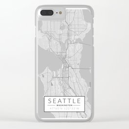 Seattle Map - Black and White (Light) Clear iPhone Case