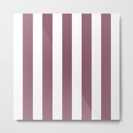 Mauve taupe violet - solid color - white vertical lines pattern Metal Print