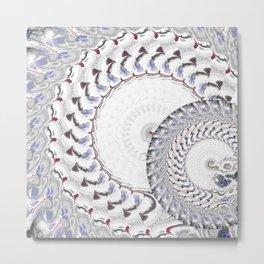 Geometric - Fractal Nautius Scared Geometry Blue White Metal Print