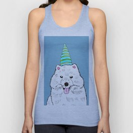 Samoyed with Party Hat Unisex Tank Top