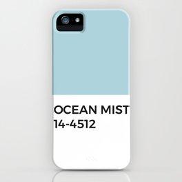 Ocean Mist Pantone Swatch Color Chip • Sea Breeze • Blue • Aqua • Turquoise •Beach • Cool Tones • Relaxing • Simple Modern Design • Designer Print • Modern Apartment •  Classic Graphic Design •Midcentury Modern iPhone Case