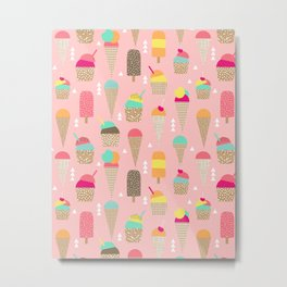 Ice Cream summer fresh food vacation heatwave city life pattern print geometric triangle design Metal Print
