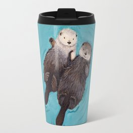 Otterly Romantic - Otters Holding Hands Travel Mug