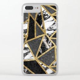 Modern Faux Gold Glitter Marble Geometric Triangle Clear iPhone Case