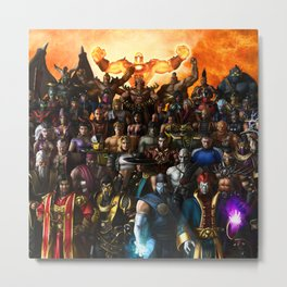 Kombat Fighters United Metal Print