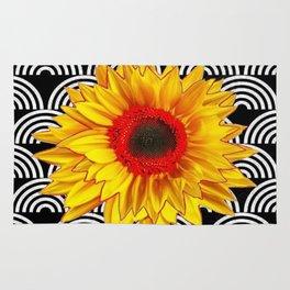 Red Sunflower Floral  Art Deco Pattern Art Rug