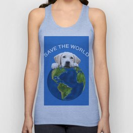 Save the world - Golden retriever and typography Unisex Tank Top