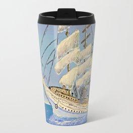 White Sailing Ship Travel Mug