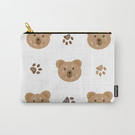 Brown doodle paw print and teddy bear white Carry-All Pouch