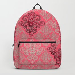 red&grey Baroque Pattern on gentle raspberry Backpack