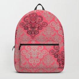 red&grey Baroque Pattern on gentle raspberry Backpack