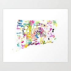 Typographic Connecticut - multi watercolor Art Print