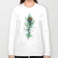 peacock feather Long Sleeve T-shirts featuring Peacock Feather by Vicky Ink.
