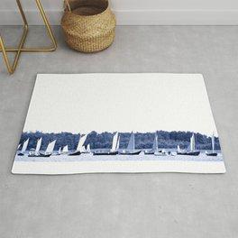 Dutch sailing boats in Delft Blue colors Rug