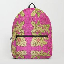Retro Vintage Kitsch Kitchen 70's Floral Pink Backpack