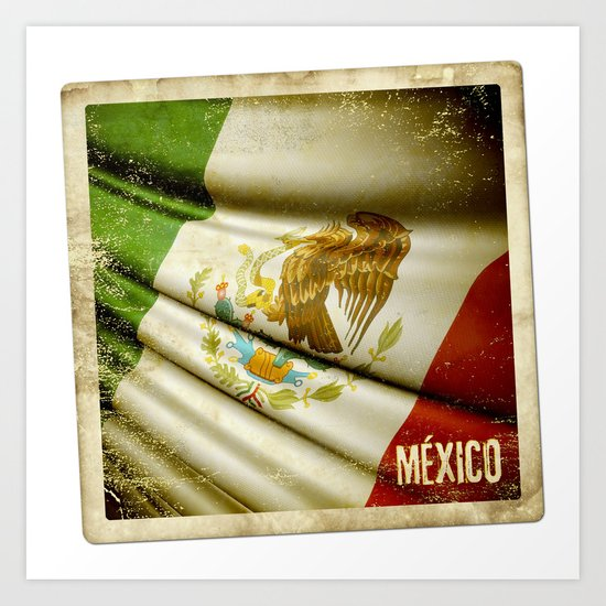 STICKER OF MEXICO flag Art Print