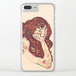 """Egon Schiele """"Auf dem Bauch liegender weiblicher Akt"""" Clear iPhone Case"""