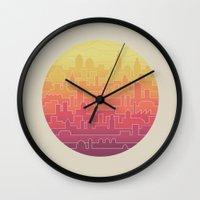 skyline Wall Clocks featuring Skyline by Rick Crane