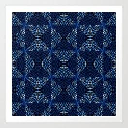 Indigo Blues Geometric Magic Quilt Print Art Print