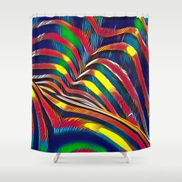 2602s-AK Nude Body Back Striped Abstraction Bright Color Pastel by Chris Maher Shower Curtain