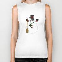 snowman Biker Tanks featuring Snowman by Adamzworld