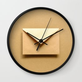 Brown envelope.  Wall Clock