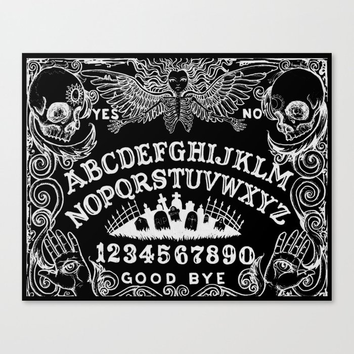 graphic relating to Printable Ouija Boards named Ouija Board Black Canvas Print by way of shayneofthedead