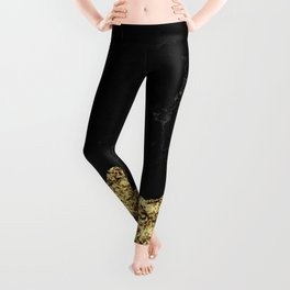 Rough Gold Torn and Black Marble Leggings