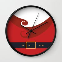 santa Wall Clocks featuring Santa by Sara Eshak