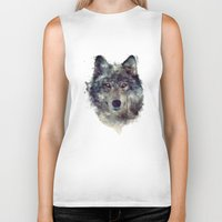 animals Biker Tanks featuring Wolf // Persevere  by Amy Hamilton