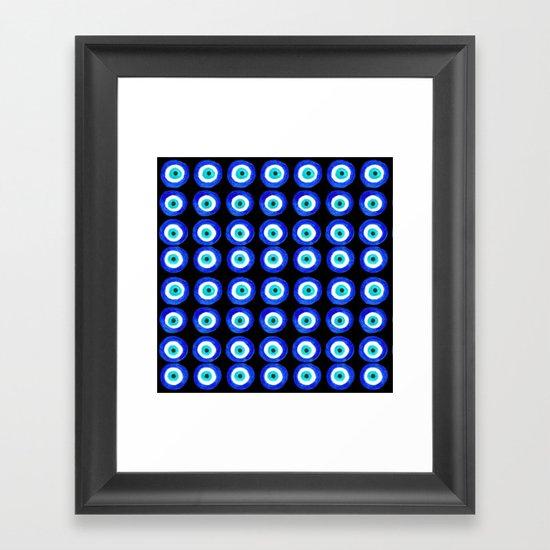 Evil Eye Talisman - on black Framed Art Print