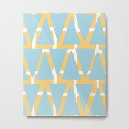 Blue and Yellow Arrowhead Print Metal Print