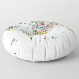 Animal Map of the World for children and kids Floor Pillow