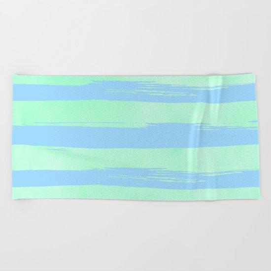 Trendy Stripes Blue Raspberry + Mint Meringue Beach Towel