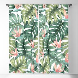 Tropical monstera / Bird of Paradise Blackout Curtain