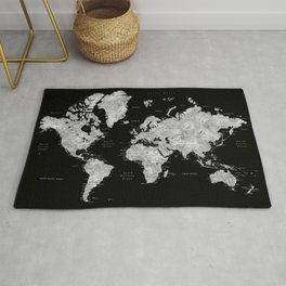 Black and grey watercolor world map with cities Rug