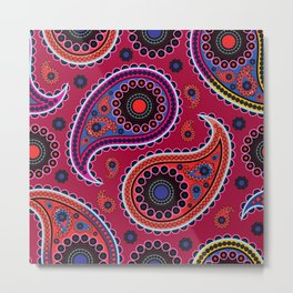 Oriental Persian Paisley, Dots - Red Blue Pink Metal Print