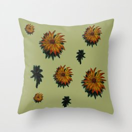 Flores y Hojas Throw Pillow