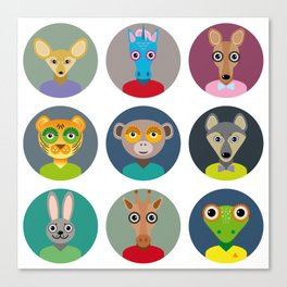 Set of animals faces circle icons set in Trendy Flat Style. zoo Canvas Print