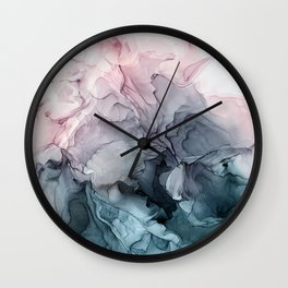 Blush and Paynes Gray Flowing Abstract Reflect Wall Clock