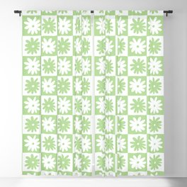 Green And White Checkered Flower Pattern Blackout Curtain